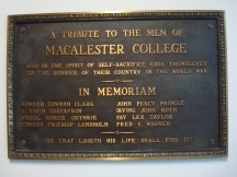 Macalester College WWI memorial plaque: ""