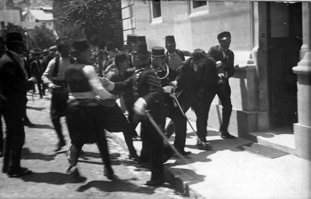 Gavrilo Princip captured, moments after shooting Franz and Sophie Ferdinand