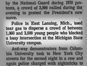 An associated press newspaper clipping describing the Lansing protests