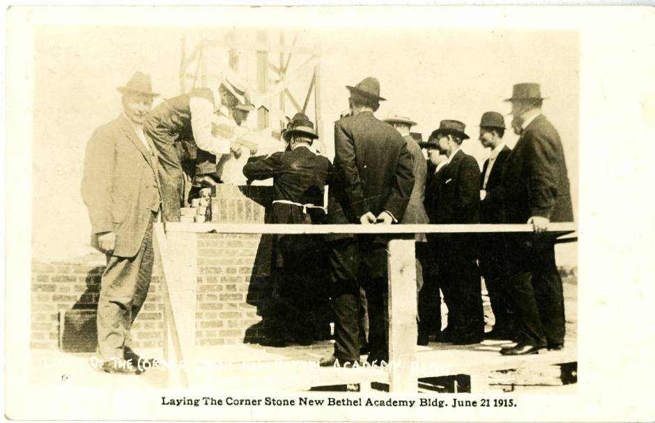 Laying the cornerstone for the new Bethel Academy building, June 1915