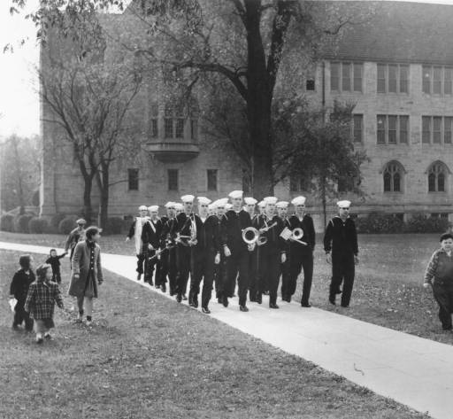 Navy V-12 band at St. Thomas, 1945
