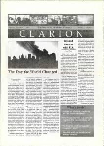 Front page of student newspaper reporting the recent 9/11 terrorist attacks