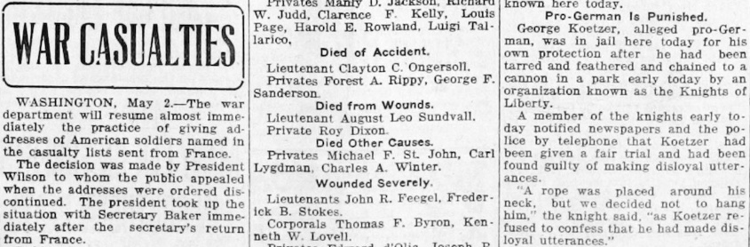 Sundvall's death as announced on nationally published casualty lists in May 1918
