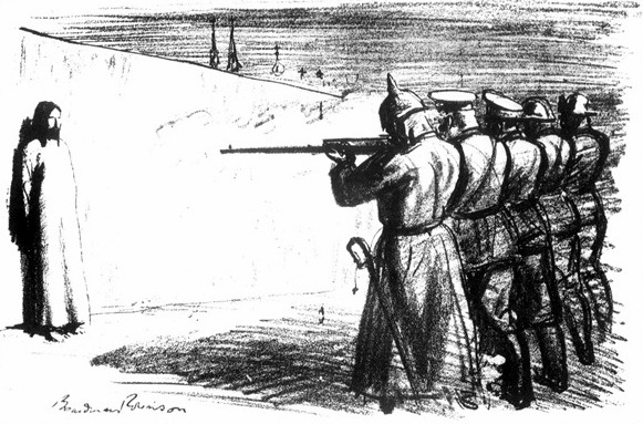 "Boardman Robinson's 1916 anti-war drawing, ""The Deserter,"" depicts Jesus as the victim of a firing squad composed of soldiers from five European nations"