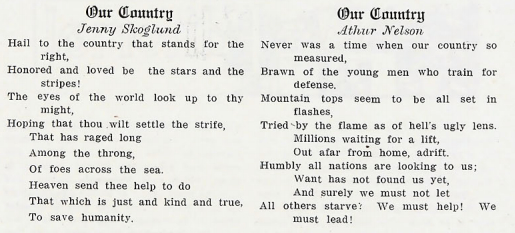 Patriotic student poetry in 1917 Bethel Academy yearbook