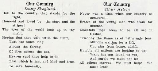 Patriotic student poetry in 1917 Bethel Academy yearbook