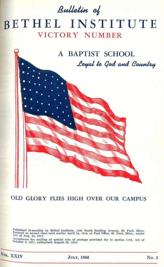 "The July 1942 Bethel Bulletin cover (the ""Victory Number"")"