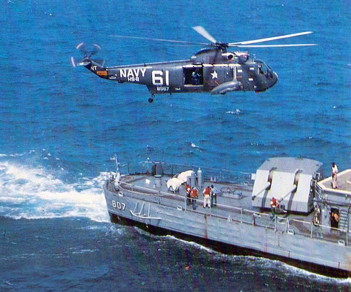A Sea King hovers, Vietnam mid-1960s