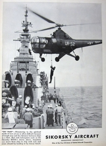 1954 Sikorsky Aircraft advertisement illustrating a chaplain transferring ships