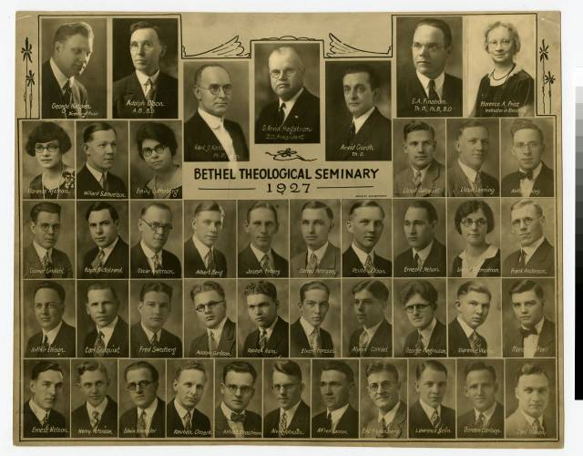 1927 photo of Bethel Seminary faculty and students