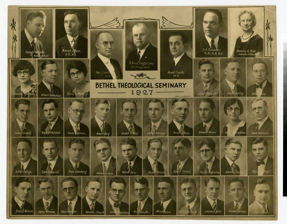 1927 photo of Bethel Seminary faculty and students