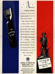 1943 war bond ad from a Milwaukee brewery