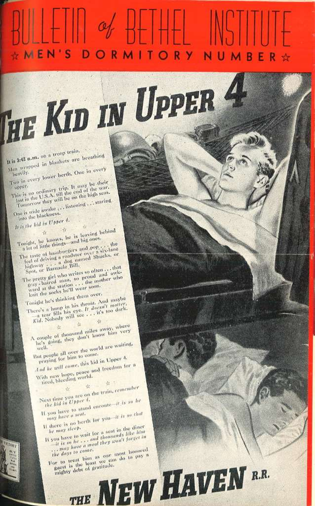 """Kid in Upper 4"" cover of the Nov 1943 Bethel Bulletin"