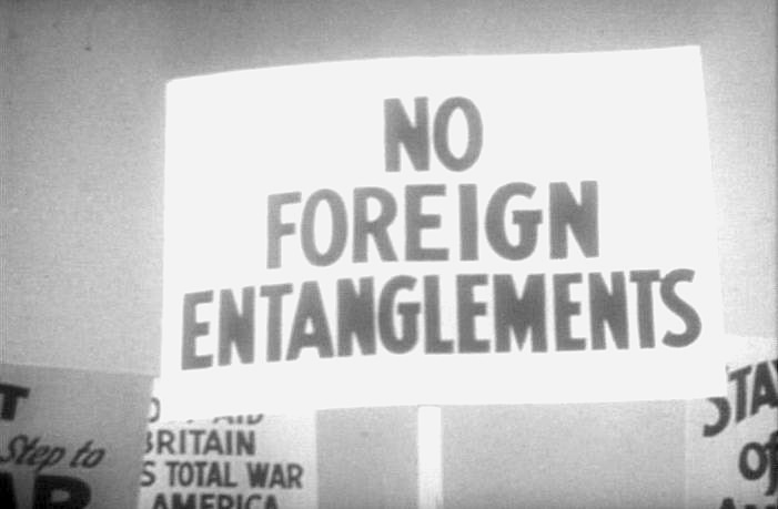 """No foreign entanglements"" sign"