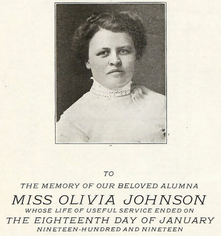 Bethel yearbook dedicated to the memory of Olivia Johnson