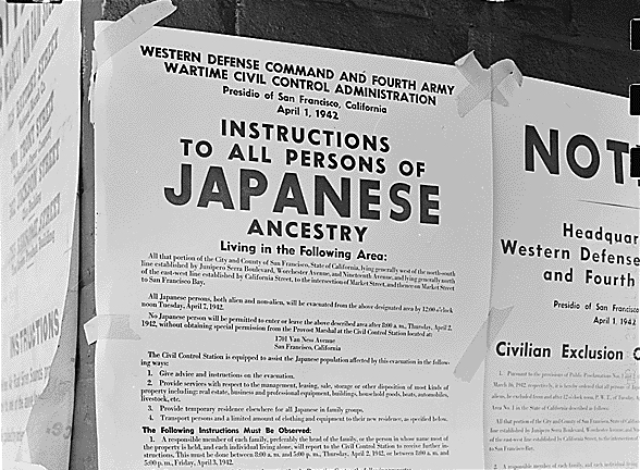 April 1942 relocation order for Japanese-Americans in San Francisco
