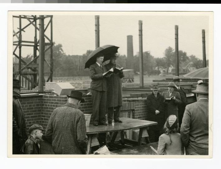 Laying the cornerstone for Bodien Hall at Bethel Junior College in June 1941
