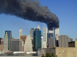 World trade center burns on September 11th