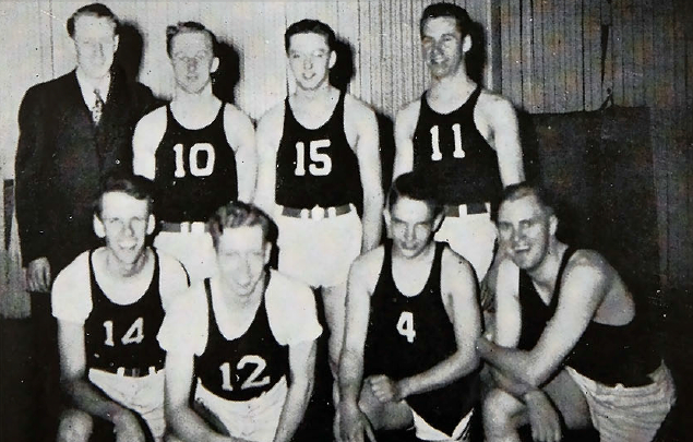 1945 Bethel men's basketball team — Walfred Peterson in bottom-left corner