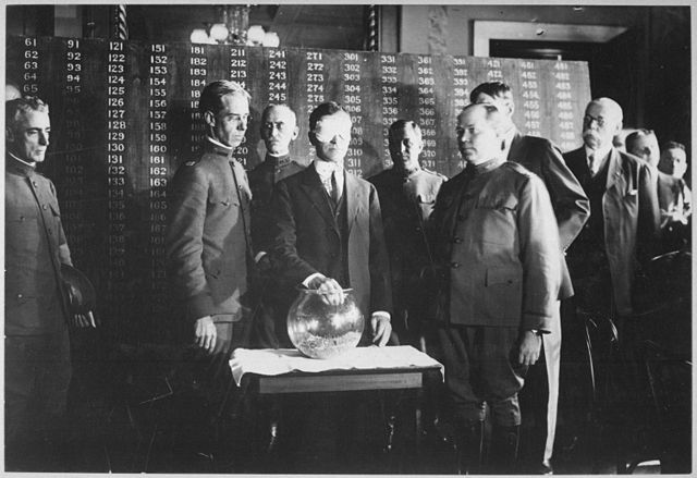 Newton Baker drawing the first number in the July 1917 draft lottery