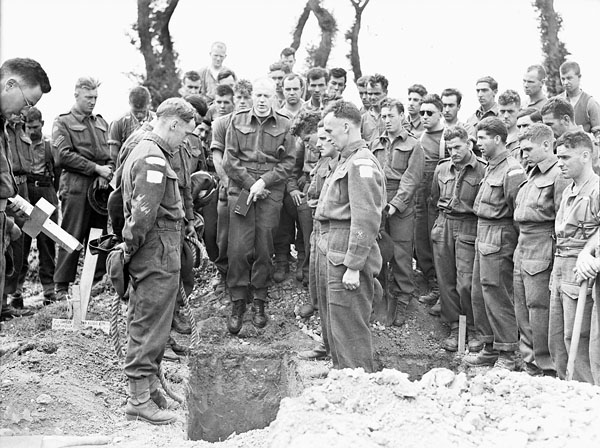 Funeral for Canadian soldiers at Normandy, July 1944