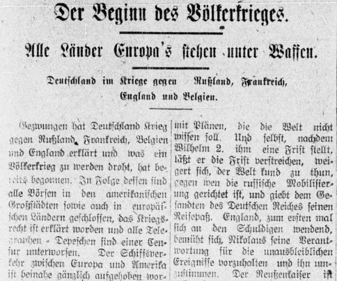 "Headline of 8/7/1914 edition of the Hermanner Volksblatt: ""The beginning of international war"""