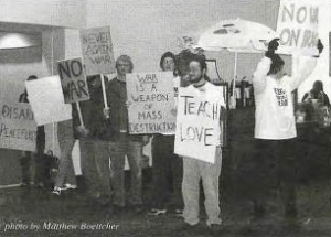 Student anti-war protest at Bethel in late February 2003