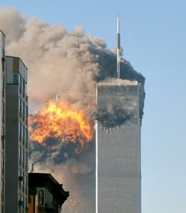The south tower of the World Trade Center on 9/11/2001
