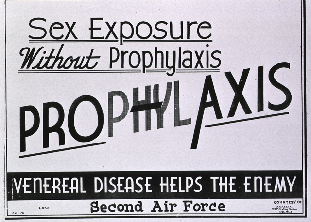 1944 Air Force poster encouraging airmen to use prophylaxis