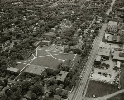Aerial Old Campus showing integration with the surrounding city