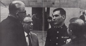Professors discuss the war with a Marine veteran during Founder's Week - Bethel University Digital Library