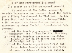 The 1969 Moratorium Statement - Personal Statement of G.W. Carlson