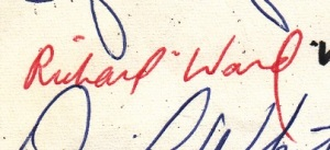 Richard Ward's signature on the 1969 Moratorium Statement - Personal Collection of G.W. Carlson