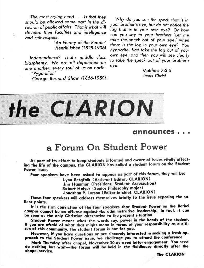 Clarion Announcement of Forum