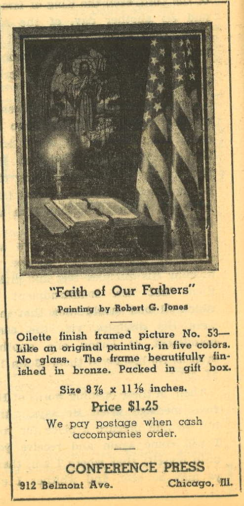 """Faith of Our Fathers"" painting advertised in August 1941 issue of The Standard"
