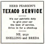 1943 patriotic ad for a local Texaco station