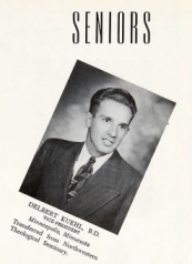 Del Kuehl photograph as a Seminary senior in 1948