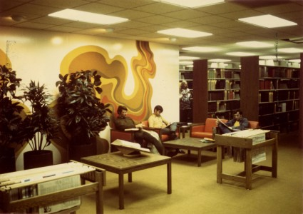 Students studying in the new library