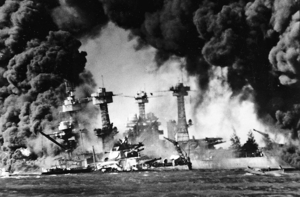The USS West Virginia sinks in Pearl Harbor